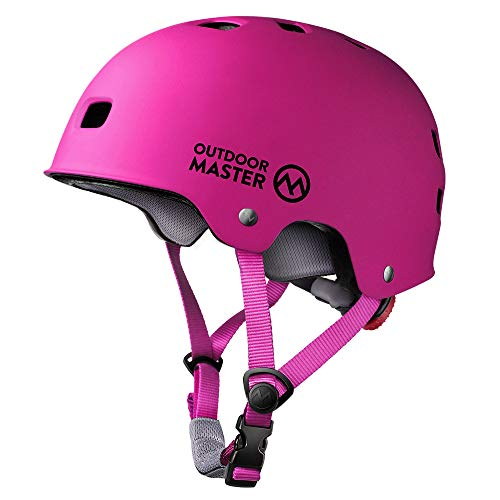 OutdoorMaster Skateboard Helmet - CPSC Certified Lightweight, Low-Profile Skate & Freestyle BMX Helmet with Removable Lining - 12 Vents Ventilation System - for Kids, Youth & Adults - M - Pink