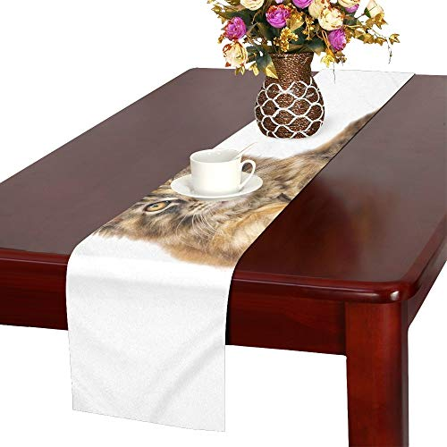 QYUESHANG Cat Animal Pet Maine Coon Mainecoon Table Runner, Kitchen Dining Table Runner 16 X 72 Inch for Dinner Parties, Events, Decor by QYUESHANG