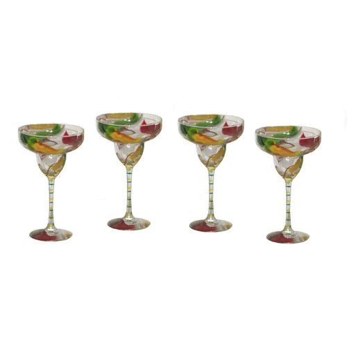 Hand Painted Set of 4 Margarita Glasses in Colorful Chili Pepper Design. by ArtisanStreet (Image #2)