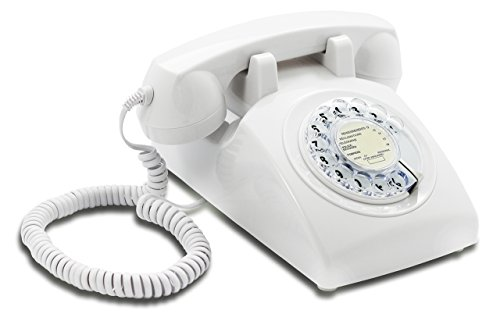 French Style Phone - Opis 60s Cable with Classic French Post Rotary Dial Inlay: Designer Retro Phone/Rotary Dial Telephone/Retro Style Phone/Vintage Telephone/Classic Desk Phone with Rotary Dialler (White)