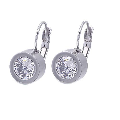 - K COOL Round Cut Bezel AAA Cubic Zirconia Leverback Dangle Earrings Gold Rose Gold Silver Drop Earrings Jewelry Gorgeous Gift for Women Girls (Silver Color)