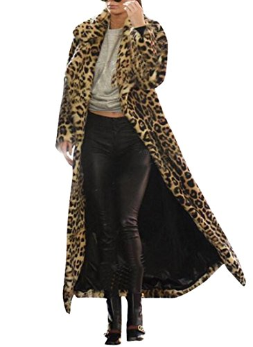 BU2H Women's Winter Warm Lapel Leopard Faux Fur Long Cardigan Coat One US XL