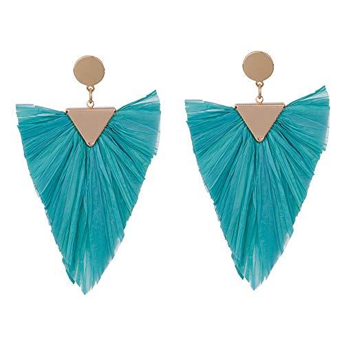 Statement Earrings Beaded Raffia Palm Bohemian Drop Dangle Earrings for women (B-green)