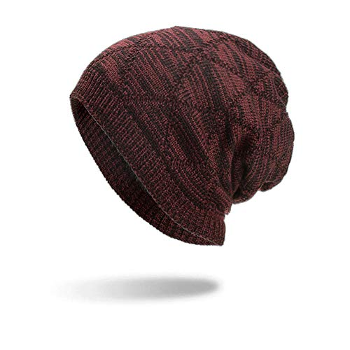 NRUTUP Knit Hats for Men, Geometric Hats Unisex Warm Winter Knit Cap,Knit Hats for Women.(Red,Free Size) -