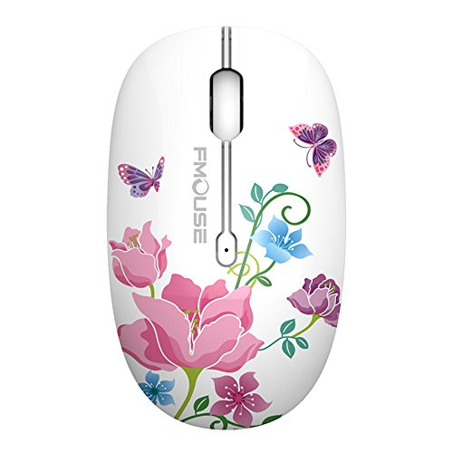 TENMOS M101 Wireless Mouse Cute Silent Mice with Nano USB Receiver,2.4Ghz Optical Travel Mouse,3 Buttons,1600 DPI Compatible with Notebook, PC, Laptop, Computer (Butterfly)