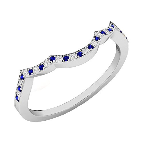DazzlingRock Collection 10K White Gold Round Cut Blue Sapphire & White Diamond Ladies Wedding Contour Guard Ring (Size - Sapphire Guard Ring Bridal