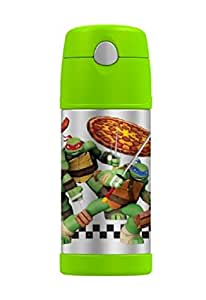 GENUINE THERMOS BRAND FUNTAINER Vacuum Insulated Straw Bottle, 12-Ounce, Lime, Teenage Mutant Ninja Turtles
