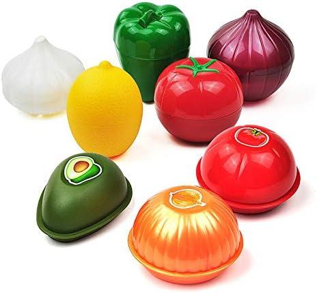 TUOLUO Süßes Küchenessen Knuspriges Gemüse Getreidebehälter Knoblauch Avocado Tomate Zitrone Grüner Pfeffer Frische Zwiebel Aufbewahrungsbox Lila