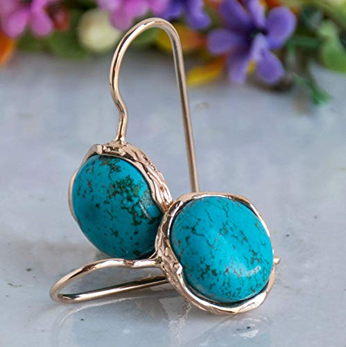 Rose Earrings Turquoise Gold (14k Rose Gold Turquoise Dangle Earrings - Christmas Gift)