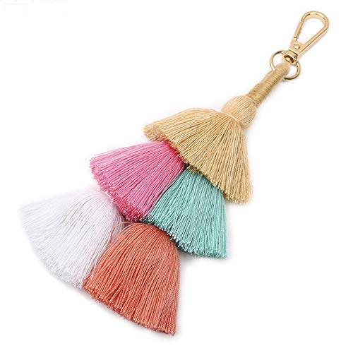 imeetu Fashion Creative Bohemian Tassel Women Handbag Charm Beach Party Keychain Pom Pom Wallet Accessories Pendant Key Rings(C2)