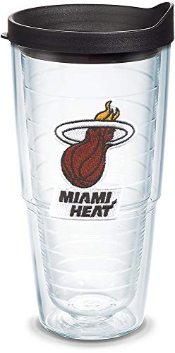 Tervis 1051592 NBA Miami Heat Primary Logo Tumbler with Emblem and Black Lid 24oz, Clear