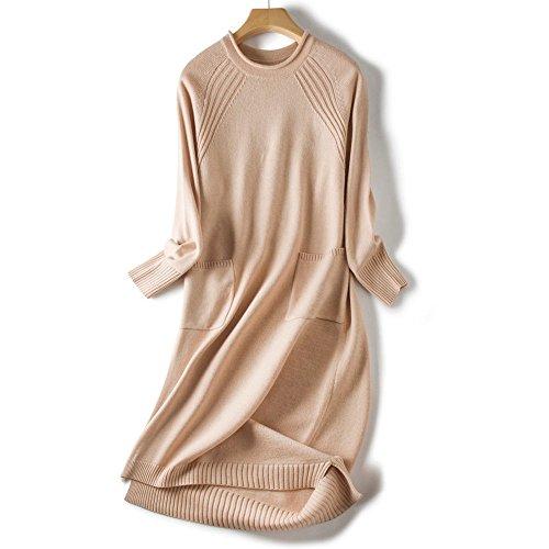 Women Sweaters Knit Dress Cashmere Merino Wool Stylish Long Sweater Dress with Pocket(Beige, one Size) ()