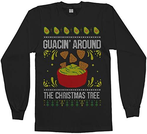 Threadrock Men's Guacin' Around The Christmas Tree Long Sleeve T-Shirt L Black (Christmas In Gif Merry Spanish)