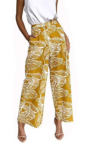 (BTFBM Women's Casual Floral Print High Waist Wide Leg Long Palazzo Pants with Pockets (Yellow, X-Large))