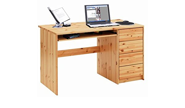 Escritorio para ordenador 650433 madera maciza de pino barnizado ...