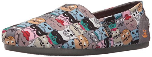 - BOBS from Skechers Women's Plush-Scratch Party Flat, Cat Multi, 8.5 M US