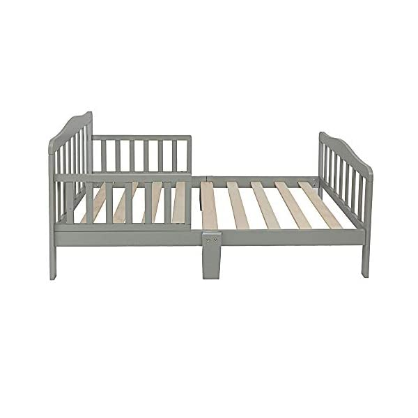 Alooter Toddler Bed Frame Guardrail Classic Design, Bed for Kids Sturdy Wooden Frame for Extra Safety with Headboard and Footboard 2