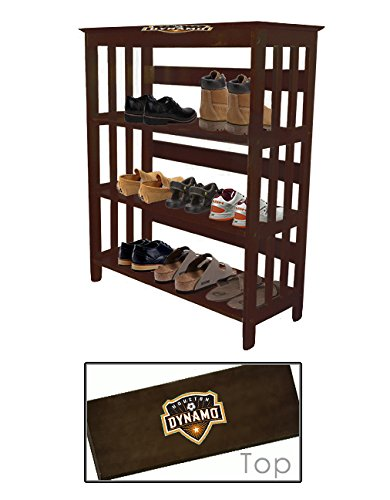 Men's Espresso Finish Large Shoe Rack (Shoes NOT Included) Featuring Your Choice of a Sports Themed Decal. Great for the Closet, Entry Way, or Mud Room! (Dynamo) by The Furniture Cove
