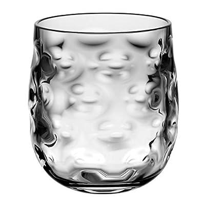 QG Clear Light Grey Acrylic Plastic 14 fl oz. Wine Glass Rock Tumbler Set of 8