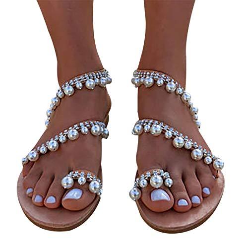 Xiakolaka Womens Sandals Flat,Beaded Toe Ring Casual Wedding Pearl Shoes Silver1