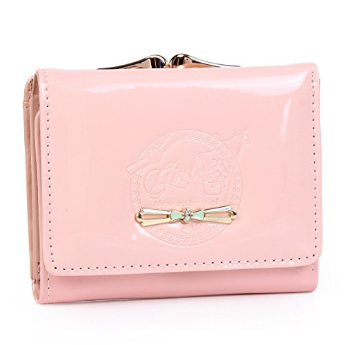 Damara Womens Small Pouch Purse Patent Leather Bow Wallet,Pink