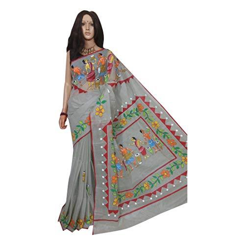Tussar Silk Hand Painted Printed Saree Indian Beautiful Motif Pallu Sari Blouse Piece Handmade Bengal Weavers 158a