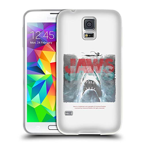 Official Jaws Grunge 2 I Logo Art Soft Gel Case Compatible for Samsung Galaxy S5 / S5 Neo (Galaxy S5 Case Jaws)