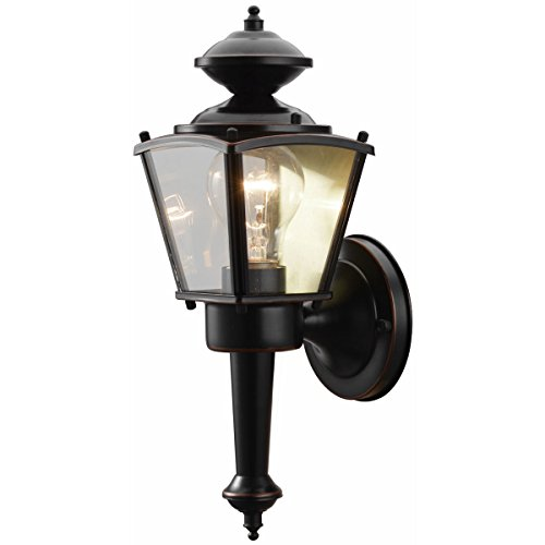 Hardware House 19-1715 Oil Rubbed Bronze Outdoor Patio / Porch Wall Mount Exterior Lighting Lantern Fixture with Clear Glass