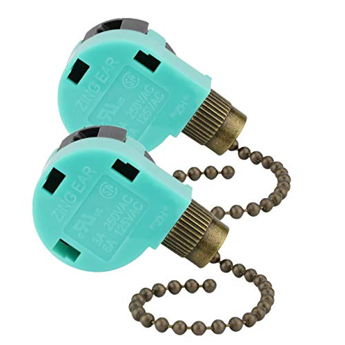 Ceiling Fan Light Pull Chain Replacement 4 Wire 3 Speed zing ear ze-268s6 Ceiling Fan Speed Control Switch PACK(Antique ()