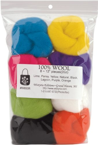 12-Inch WISTYRIA EDITIONS 0.25-Ounce Wool Roving Muted 8-Pack