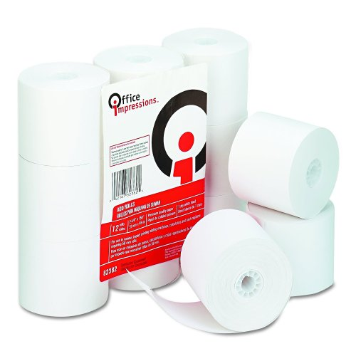 Office Impressions Calculator - Office Impressions Calculator Plain Paper Rolls, 2.25 Inches Width x 150 Feet Length, White, 12 per Pack (82382)