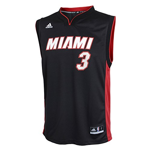 NBA Miami Heat Wade # 3 Boys 8-20 Replica Road Jersey, Large (14/16), Black (Youth Miami Heat Jersey compare prices)
