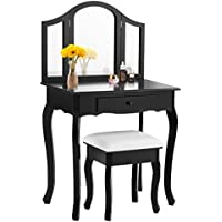 Giantex Bathroom Vanity Makeup Table Set w/ Tri-folding Mirror & Cushioned Stool Dressing Table (Black)