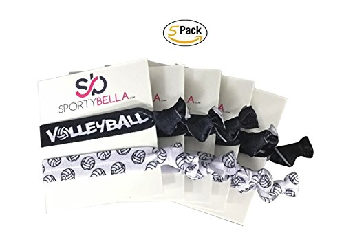 Infinity Collection Volleyball Hair Accessories, Volleyball Hair Ties 5pk, No Crease Volleyball Hair Elastics Set, Volleyball Party Favors ()