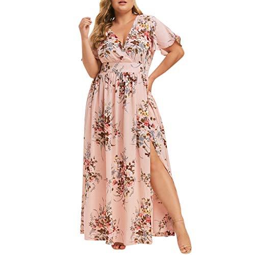 Summer Dresses for Women Wrap V Neck Short Sleeve Maxi Dress Bohemia Floral Sexy Split Beach Skater Maxi Dress ()