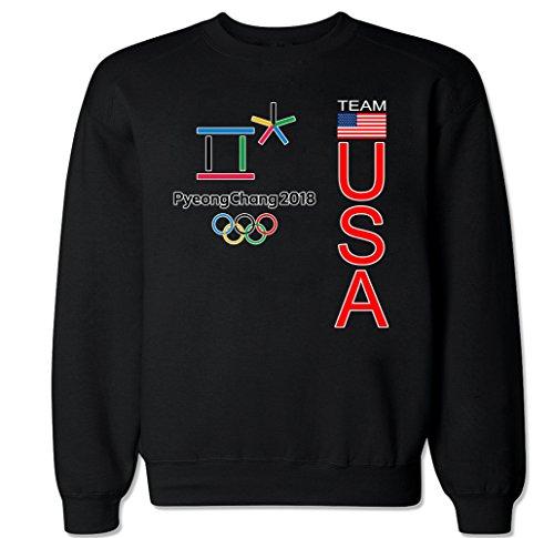 Team Crew Sweatshirt (FTD Apparel Men's Pyeongchang USA Crew Neck Sweater - XXL Black)