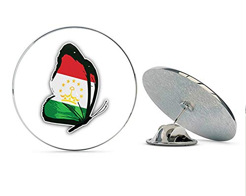 "Tajikistan Butterfly Flag Round Metal 0.75"" Lapel Pin Hat Shirt Pin Tie Tack Pinback"