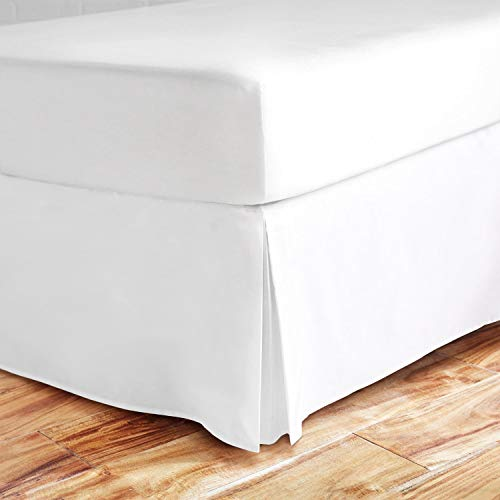 Idea Linen Ultra Soft Bed Skirt - Premium Full Size White with 18 Inch Drop 300 Thread Count Hotel Quality, Quadruple Pleated Hypoallergenic, Wrinkle and Fade Resistant (White Linen Pleated)