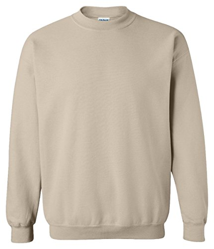 Gildan Men's Heavy Blend Crewneck Waistband Sweatshirt, Sand, Medium