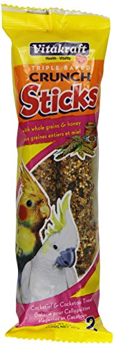 Vitakraft Cockatiel & Cockatto Whole Grains & Honey Treat Sticks 2 Pack, 5.9 Ounce (Stick Bird Seed Holder)
