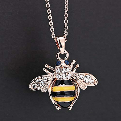 Crystal Zinc Alloy Jewelry Women Bee Rose Pendant Necklaces