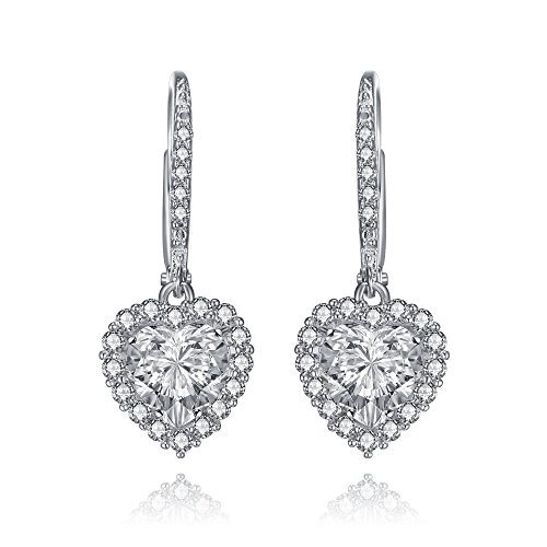 Shape Earrings Silver Heart Sterling (Sterling Silver Bridal CZ Heart Drop Earrings by Lux and Glam Jewelry Collection)