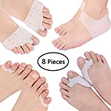 8 Pack of Bunion Corrector and Bunion Care Kit for Tailors Bunion, Hallux Valgus, Big Toe Joint Toe Separators