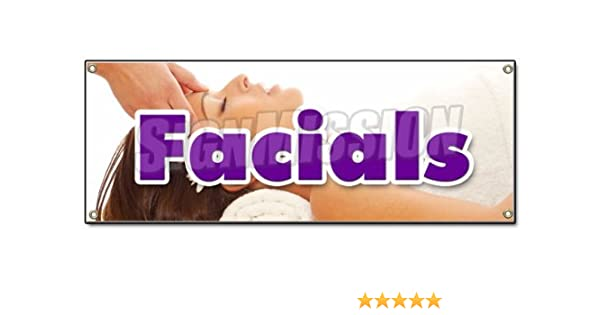 Amazon Com Facials Banner Sign Spa Beauty Shop Massage Manicure Pedicure No Appointment Office Products