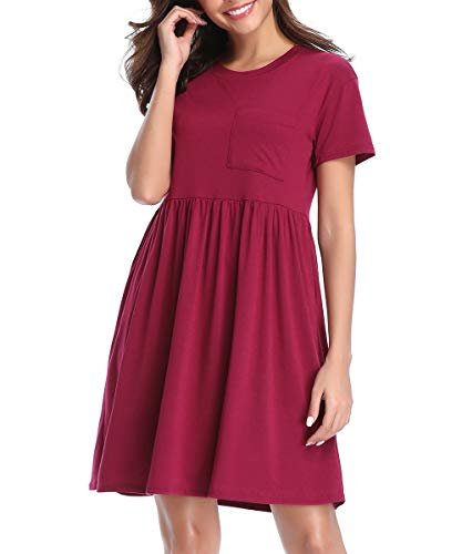 CROSS1946 Women's Short Sleeve Plain Summer Swing Dresses Pleated Flowy Tunic Casual T-Shirt Dress with Pockets