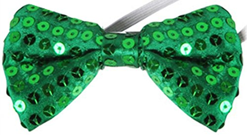 Leprechaun Tie - Green St. Patricks Day Leprechaun Costume Accessory Sequin Bowtie Bow Tie