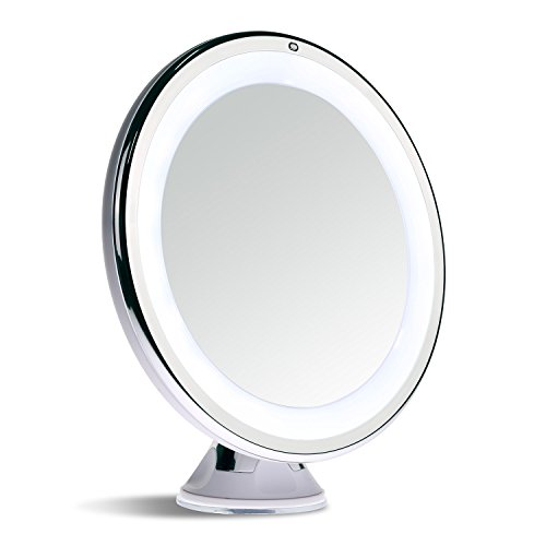 [Sanheshun 10X Magnifying Lighted Travel Makeup Mirror,Touch Activated, Locking Suction Mount, Battery Operated, Round] (Lighted Travel Mirror)