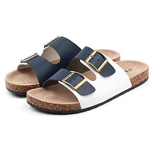 XIAOLIN Zapatillas de corcho de los hombres simples Verano antideslizante zapatillas casuales Sandalias de playa de los hombres Sandalias de tendencia (tamaño opcional) ( Color : 01 , Tamaño : EU39/UK 03