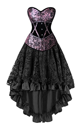 Kimring Women's 2 Pcs Deluxe Vintage Victorian Floral Satin Velvet Overbust Corset with Dancing Skirt Set Purple/Black ()