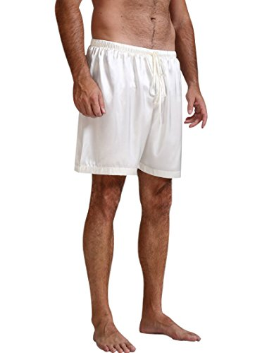 Mens Silk Satin Pajamas Pyjamas Shorts Lounge Beach Shorts Boxer White XL